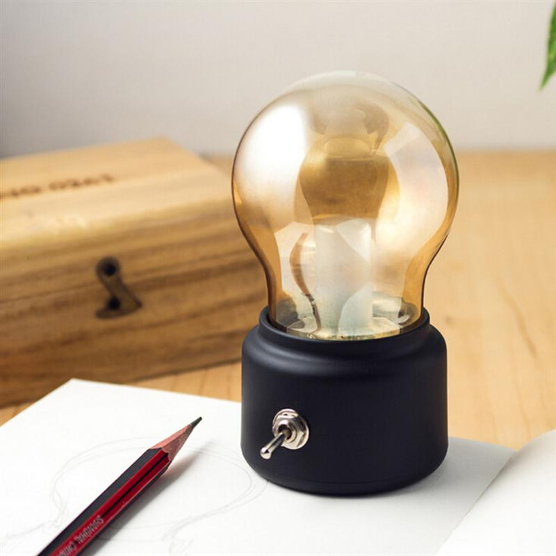 LED Vintage Light Bulb Rechargeable Night Light Safety USB Energy Saving Portable For Home Desk Table Tea Travel With Warm Light