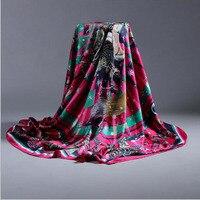 Kadınlar Büyük Kare Ipek başörtüsü Printed140 * 140 cm Moda Bahar Ve Sonbahar Polyester Ipek Eşarp Şal ücretsiz teslimat A858