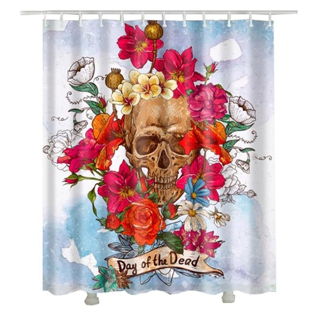 Flower Skull Shower Curtain Polyester Fabric Waterproof Cheap Home Decor Punk Style Bathroom