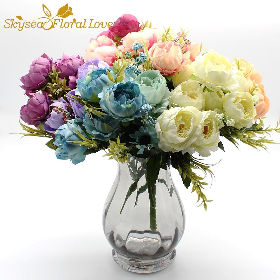Высокие искусственные цветы Шелковые Цветы Мини пион поддельные цветы домашний Свадебная вечеринка декоративные цветы