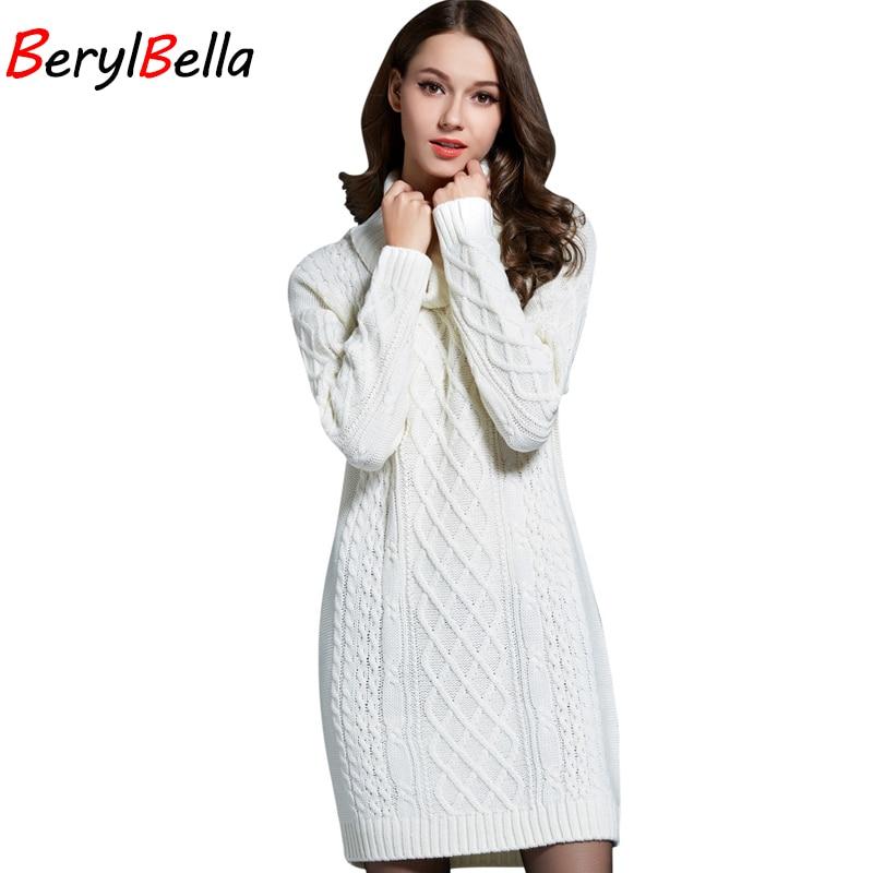BerylBella ผู้หญิงเสื้อกันหนาว P Ullovers คอเต่าแขนยาวชุดเสื้อกันหนาว 2018 ฤดูหนาวถักสตรีสีขาวเสื้อกันหนาวที่อบอุ่นเสื้อผ้า