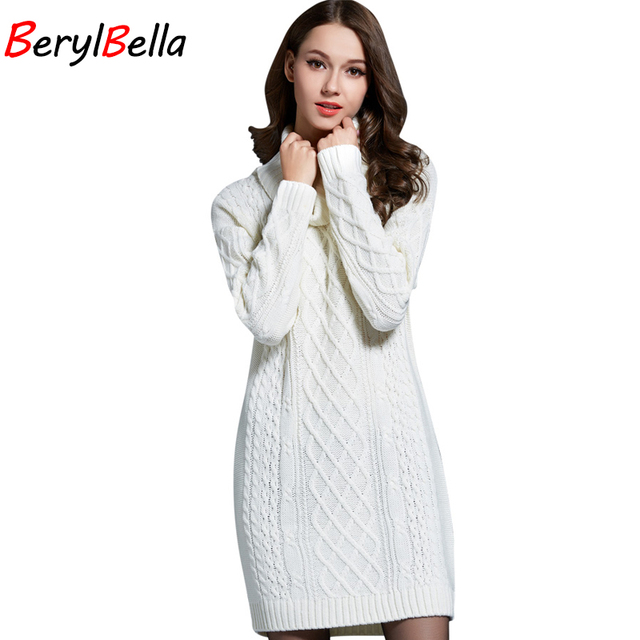 09943312afe BerylBella Women Sweaters Pullovers Turtleneck Long Sleeve Sweater Dress  2018 Winter Knitting Women s White Warm Sweater Clothes
