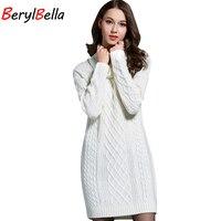 BerylBella Women Sweaters Pullovers Turtleneck Long Sleeve Sweater Dress 2016 Winter Knitting Women S White Warm