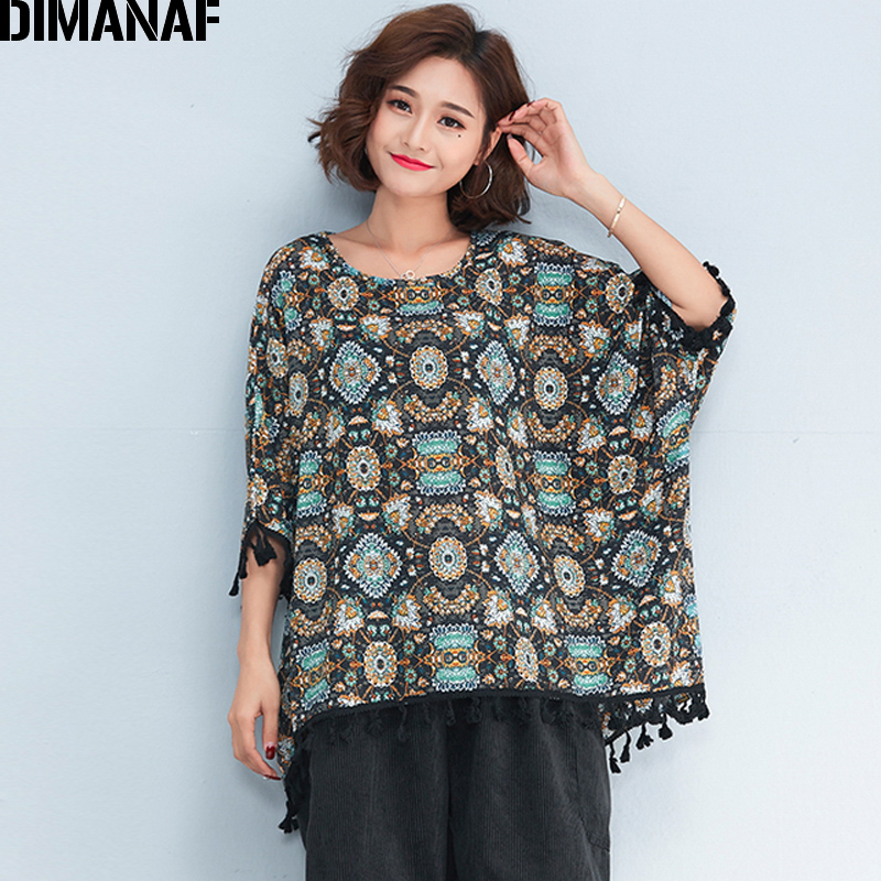 d211616013f DIMANAF Women T-Shirt Plus Size Summer 2018 Print Batwing Sleeve Casual  Tassel Tops Tees Oversized Female Loose Vintage T-Shirt