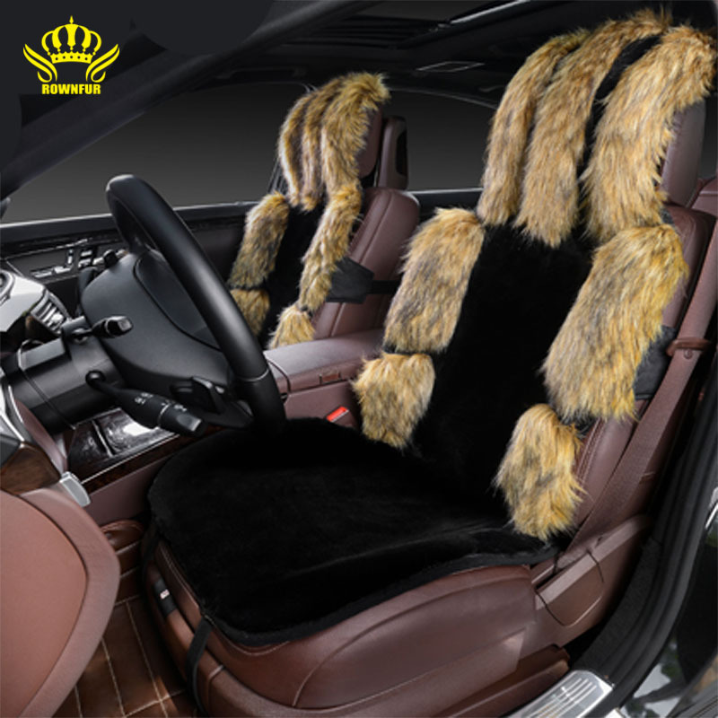 1pcs For Front car seat covers faux fox fur cute car interior ...