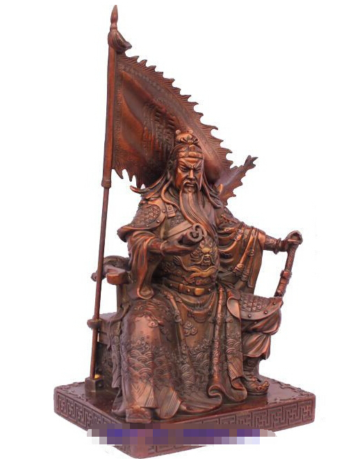 free shipping Chinese bronze copper Dragon Warrior Guan Gong/ Yu battle flag Statue 11H chinese palace pure bronze copper auspicious dragon phoenix pot bottle vase pair