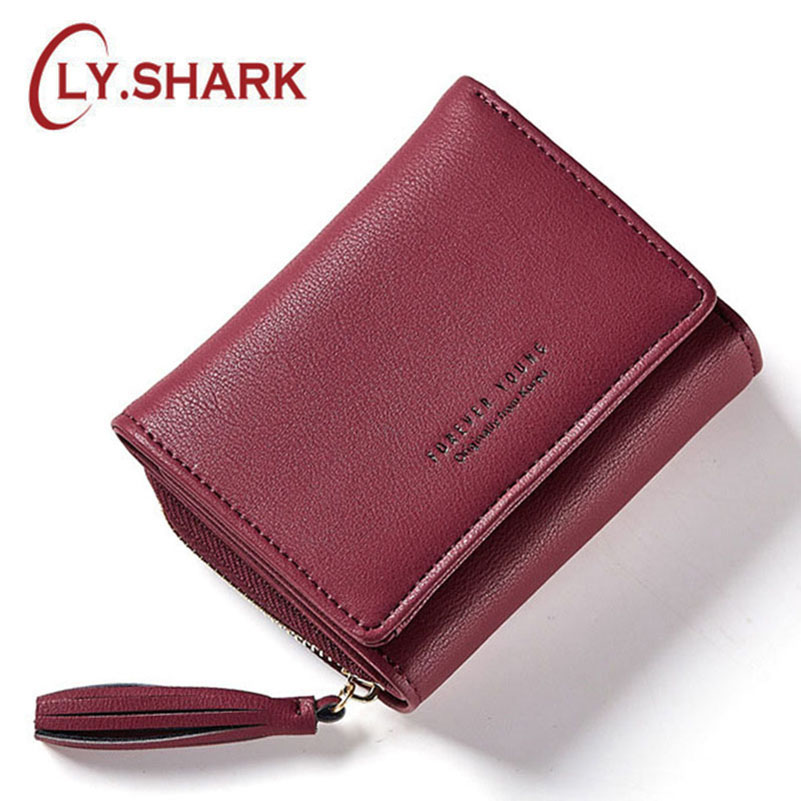 LY.SHARK Short PU Leather Women Wallet Female Purse Coin Pocket Phone Tassel Wallet Credit Card Holder Lady Clutch Money Bag fashion women leather bags wallet purse tassel brand wallet women purse dollar price travel coin purse credit money mlt812wallet