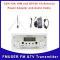 Cantonmade FU-15A 15A 15 W FM de CZH transmisor y GP100 1/4 onda de la antena y cable syv-50-3 plata Un conjunto