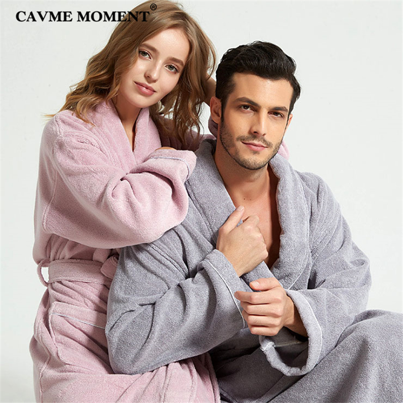 CAVME Hotel Towel Bathrobe Cotton Terry Robes Kimono Long Nightgown Lounge Sleepwear for Lover Solid Color V Collar LOGO CUSTOM