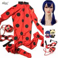 Costume Lady Bug Kids Costumes Girls Women Children Girl Spandex Miraculous Ladybug Cat Noir Adult Romper