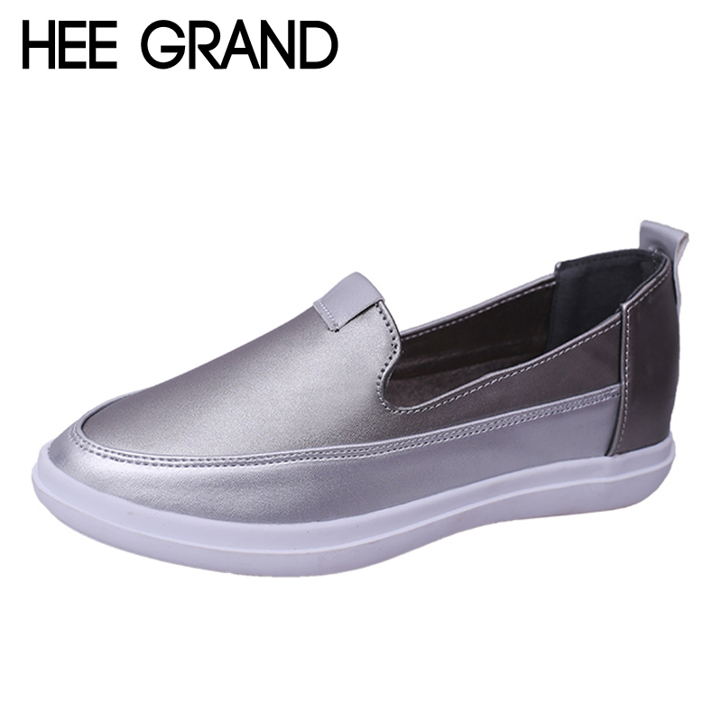 HEE GRAND Silver Loafers Casual New Slip On Flats Patchwork Platform Shoes Woman Spring Creepers Fashion Women Shoes XWD5707 hee grand summer gladiator sandals 2017 new platform flip flops flowers flats casual slip on shoes flat woman size 35 41 xwz3651