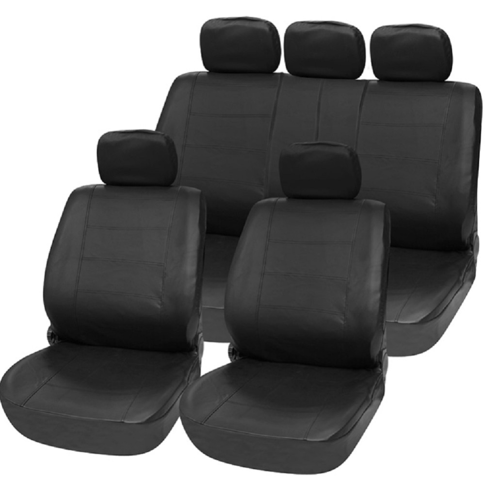 TIROL Universal PU Black Imitation leather 11 Pieces Front Rear Seat Covers For Crossovers SUV Sedans T21623a tirol pu leather universal front single car seat covers seat cushion black red for suv sedans 1 pack t24522a free shipping
