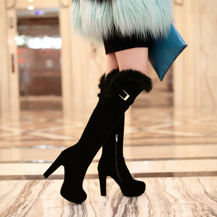 ФОТО Boots female tall boots round toe thick high heel 2016 autumn and winter boots side zipper knee-length boots plus size