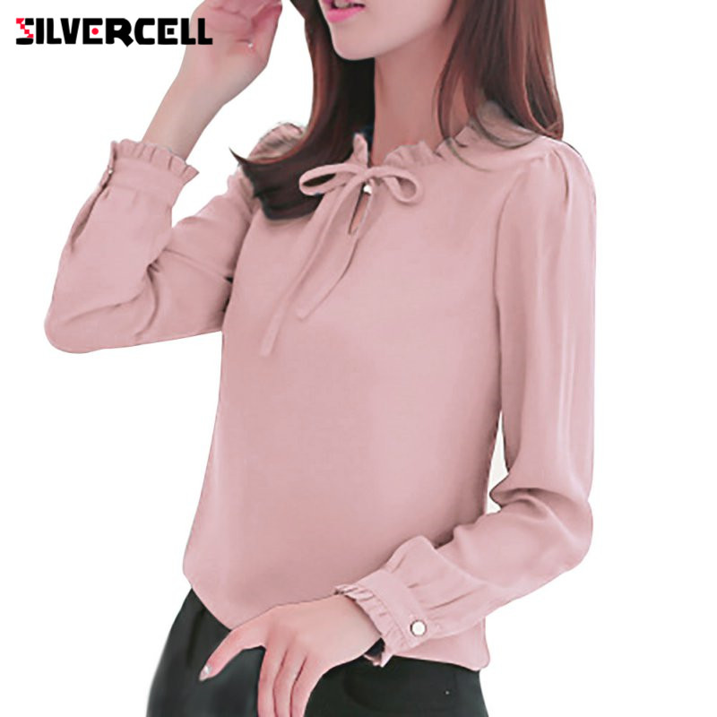 SILVERCELL V Neck Lace Up Blouses Shirts Women Long Sleeve Collar Bow Blouse Elegant Chiffon Blouse Ladies Office Tops
