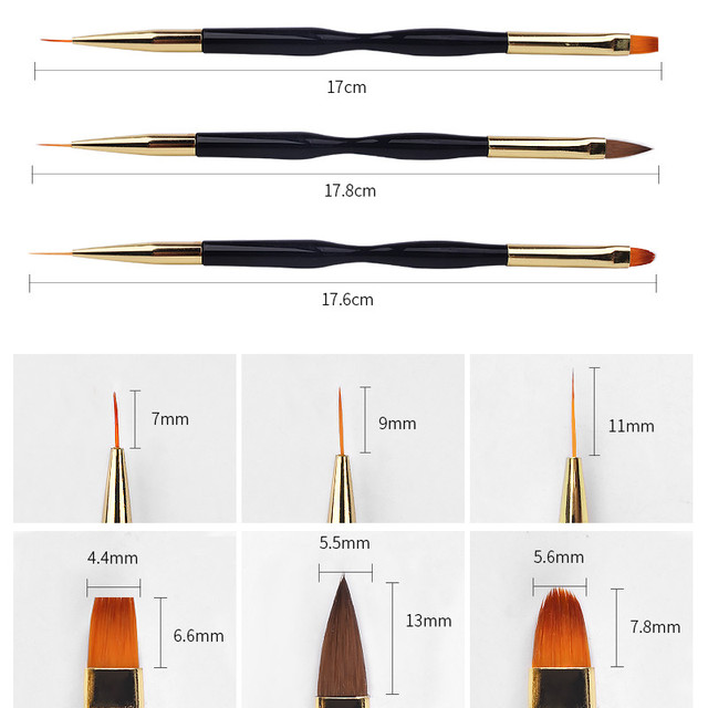 7/9/11MM Double-head Brush Pen Painting Carved Liner Flower Drawing Acrylic Manicure Tool Hook Line Flat Round Crystal Nail Art