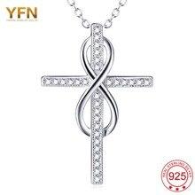 YFN Fina 925 Joyería de Plata Esterlina Para Las Mujeres Infinito Cruz Colgante Collar carboneros femme bijoux femme inino colar Collar