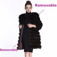 Real Fox Fur Vests Genuine Fox Fur Vest 115cm Wave Vest Winter Women Vest Woman Jacket