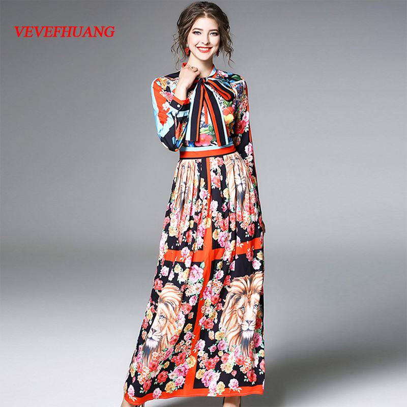 Vintage Woman Spring Maxi Dress Bow Neck Female Print Long Dress Lady Runway Dress