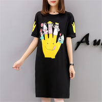 Brand Hot Tee Shirt Femme Unique Tops T Shirt Women Summer Big Size M-5XL Printed Cartoon Finger Short Sleeve Long Casual Tshirt