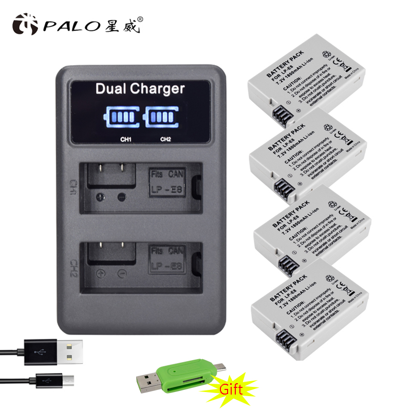 PALO 4 PCS LP-E8 Battery Pack Bateria LP-E8 Lp E8 For Canon 550D 600D Camera battery+LCD charger digital camera battery
