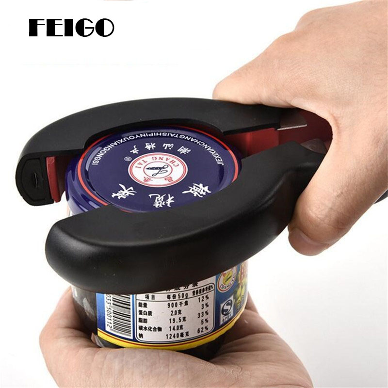 FEIGO 6-in-1 Canned Gourd-shaped Can Opener Multi Purpose Screw Cap Jar Openers Bottle Lid Grip Wrench Kitchen Accessories F555
