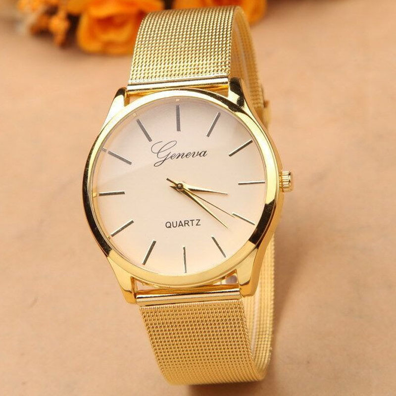 Gold Watch Woman Fashion Dress Watches New Brand Name Geneva Quartz Watch Best Quality G-8072 Free Shipping