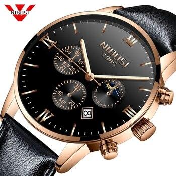 Reloje NIBOSI Men Watch Male Leather Automatic Date Quartz Watches Mens Luxury Brand Waterproof Sport Clock Relogio Masculino