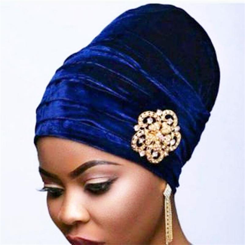 New Pleated Velvet Turban With Metal Brooch Long Women Baggy Chemo Cap Sleeping Hat Hijab Headwrap Slouch Caps Beanie   Headwear