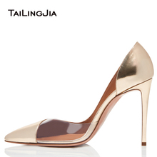 Pointed Toe High Heel Pumps for Women Gold and Transparent PVC Elegant Evening Dress Heels Ladies Summer Shoes Stilettos Fashion