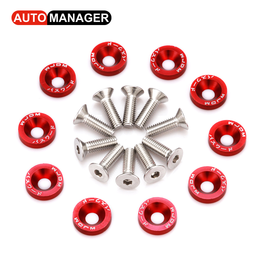 Fender Washers With M6 Bolt fit Any 6mm Hole JDM Style Car Styling License Plate Bolts Modification Aluminum Washer ...