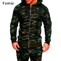 VERTVIE 2018 Brand New Solid Tracksuit Men Autumn Winter Workout Tracksuit Top Pants Suit Sets Hoodies