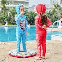 2017 New Children S Swimsuit Girl Long Sleeve Cartoon Swimsuit Split Set 5826