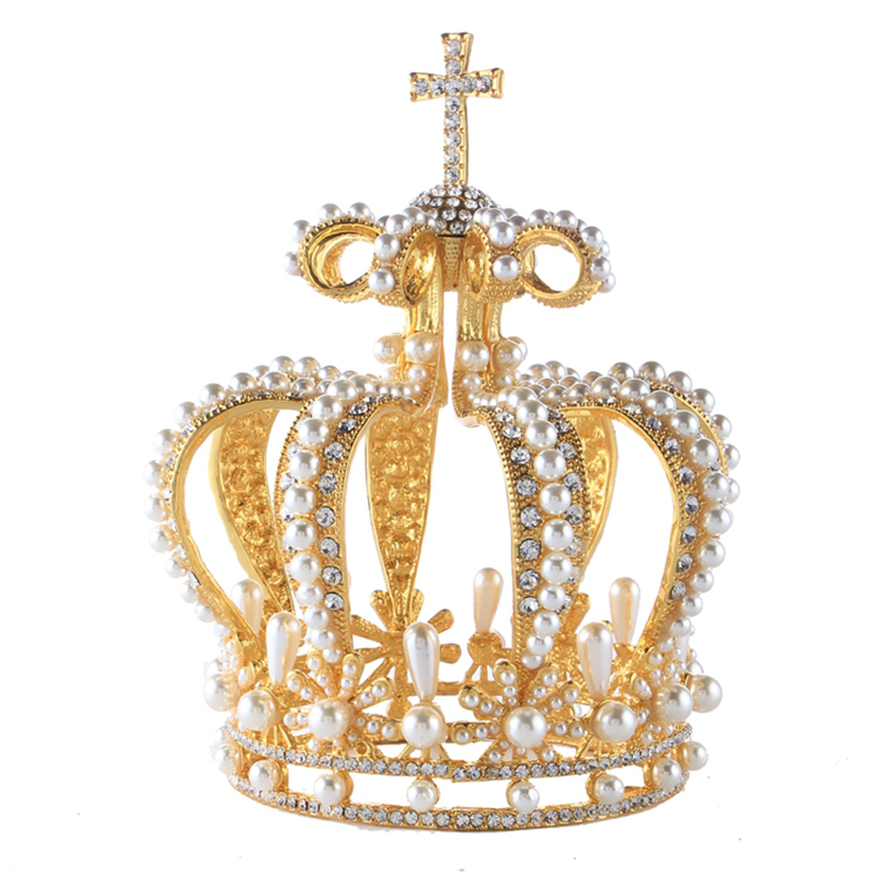 XUANYING Vintage Small Cross Pearl Tiara Crown Brude Bryllupsfest Rhinestone Crown for Women Baroque Pageant Prom smykker