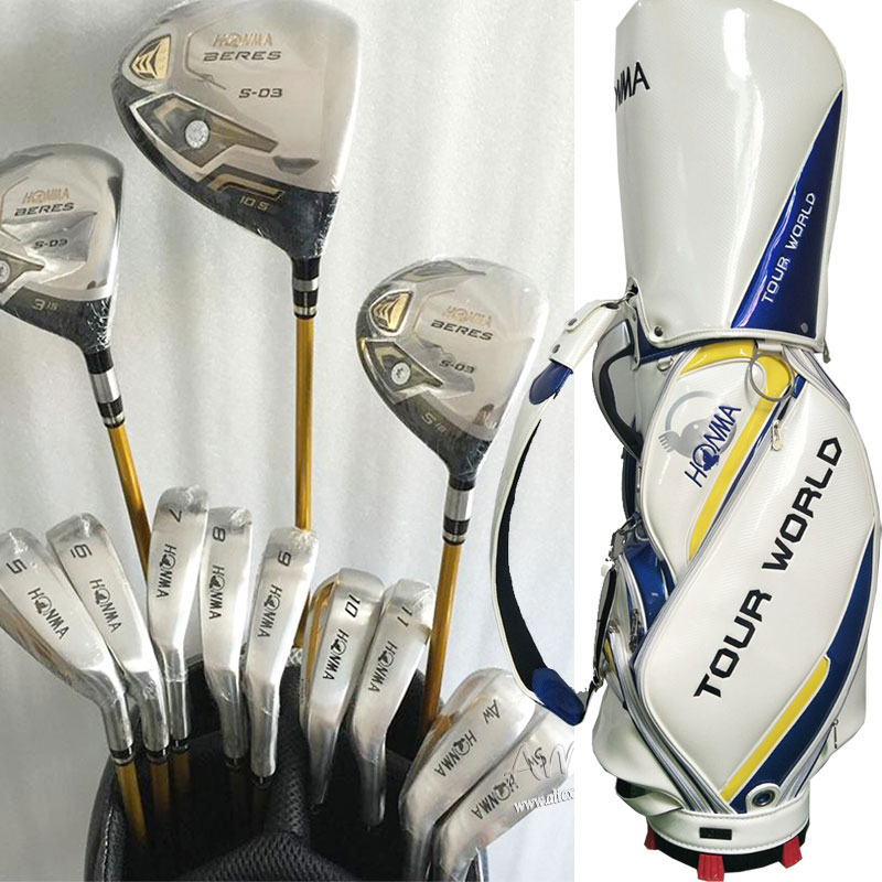Cooyute New Golf Clubs Honma S-03 3 star Golf full set Honma Clubs Drive+wood+irons+putter Graphite Golf shaft Free shipping new 525 golf clubs honma bezeal 525 complete set honma golf driver wood irons putter graphite golf shaft plus bag free shipping