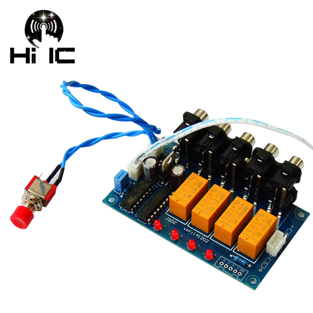 4 Input 1 Output Lossless Audio Source Signal Switcher Switch Selector Board Box Sound HiFi Audio Signal Splitter