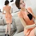 Short Sleeve Women Skirt Suits High Quality Women Business Suits Office Uniform Designs Women Fashion Blazer Feminino A3365