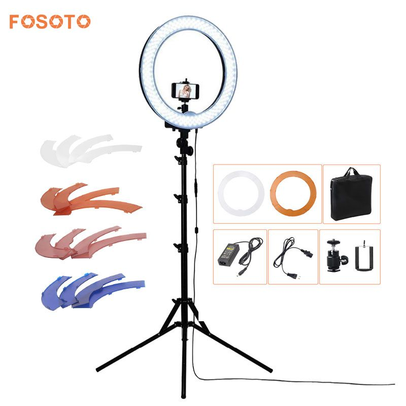 fosoto RL-18 Camera Photo/Phone/Video 55W 240 LED Ring Light 5500K Photography Dimmable Ring Lamp with 4 Plastic Colors/Tripod ashanks 55w 5500k ring light with stand 240 led photographic lighting dimmable camera photo studio phone video photography lamp