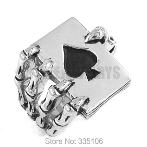 Wholesale Claw Spades Poker Ring Stainless Steel Jewelry Cool Tribal Ace of Spades Biker Ring Gothic Men Ring SWR0186A