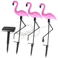 Solar Powered Outdoor Set of 3 Pink Flamingo Garden LED Light Up Path Ornament Decoration