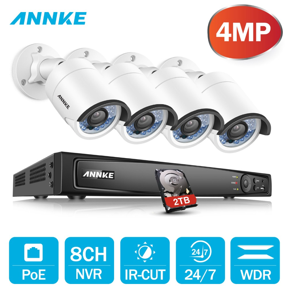 ANNKE 8CH 6MP POE H.264 + NVR Sicherheit System 4 stücke 4mm 4MP Wetterfeste Outdoor Infrarot Nachtsicht Kamera p2P Onvif WDR 3D DNR