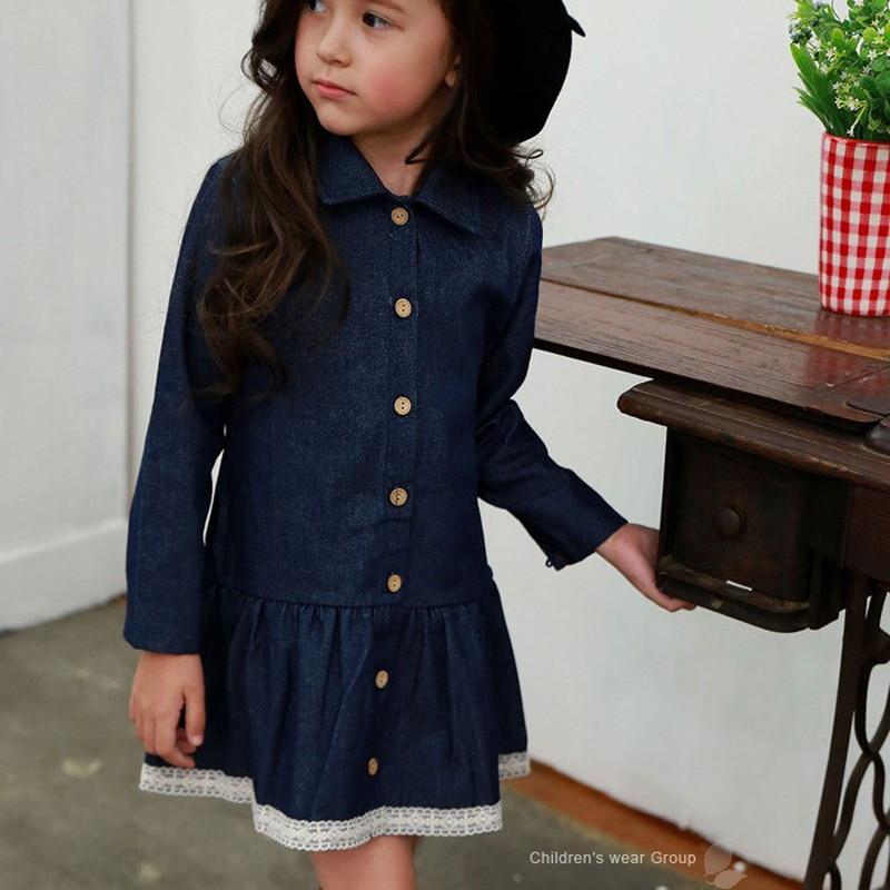 Girls 2017 Spring Long Sleeve Denim Dress Girls Dress Kids Clothes 2017 spring long sleeve man