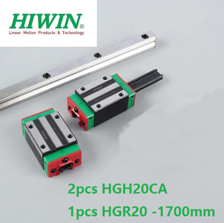 1pcs 100% original Hiwin linear rail guide HGR20 -L 1700mm + 2pcs HGH20CA linear square block for cnc цена
