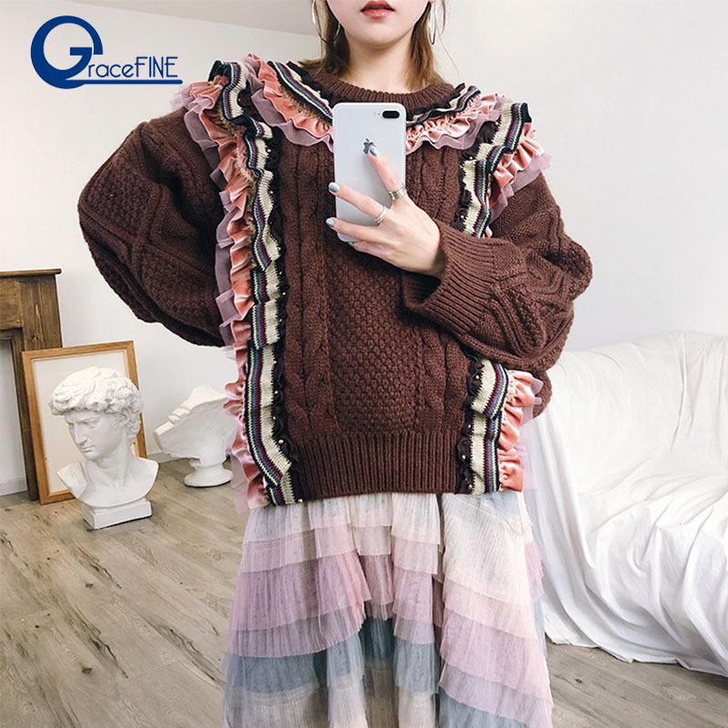 Autumn Winter Twist Warm Sweaters Beading Vintage Frill Plaid Casual Loose Thick Knitting Jumper Female Cashmere Sweater Women
