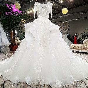 Image 3 - AIJINGYU לפרוע חתונה רומנטית שמלות כלה שמלת למכירה בריטניה ארוך שרוול סוז לבן פשוט שמלת תחרה חתונה שמלת יצרנית