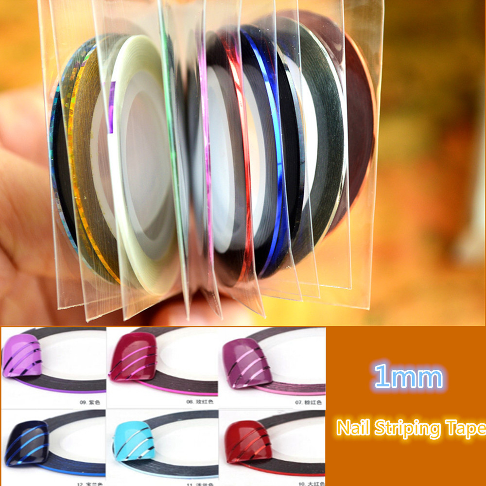 Retail 10 Popular  1mm Nail Striping Tape Line For Nails Decorations Diy Nail Art Self-Adhesive Decal Tools SANC124 14 rolls glitter scrub nail art striping tape line sticker tips diy mixed colors self adhesive decal tools manicure 1mm 2mm 3mm