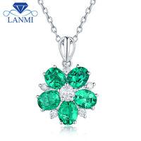 Wedding Promised Gold Jewelry Solid AU750 White Gold Oval Shape Green Zambia Emerald Shinning Diamond Pendant