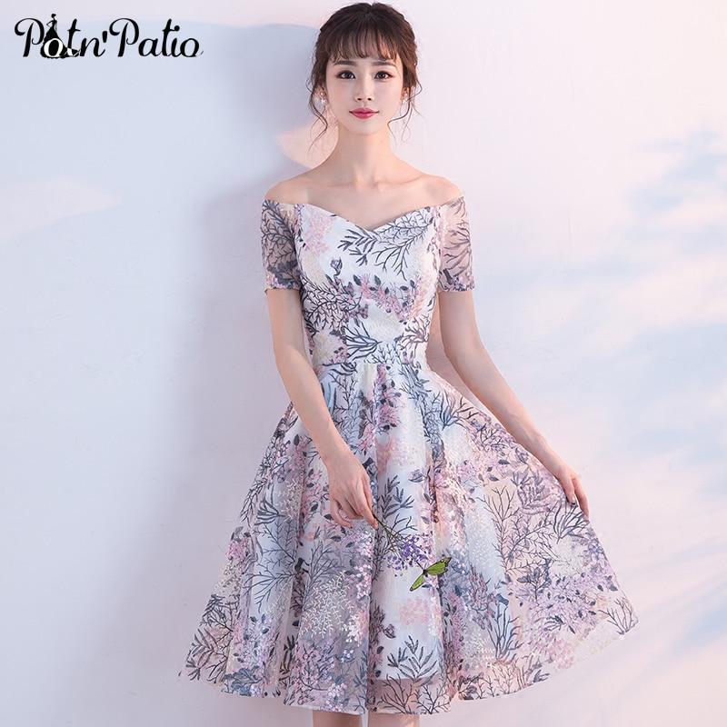 PotN'Patio Off Shoulder   Prom     Dresses   2018 New Arrival Lace Short graduation   dresses   Simple Homecoming   Dresses