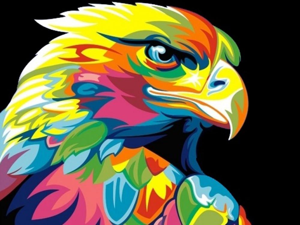 ᐊDIY Cuadros de punto de cruz águila colorido rhinestone bricolaje ...