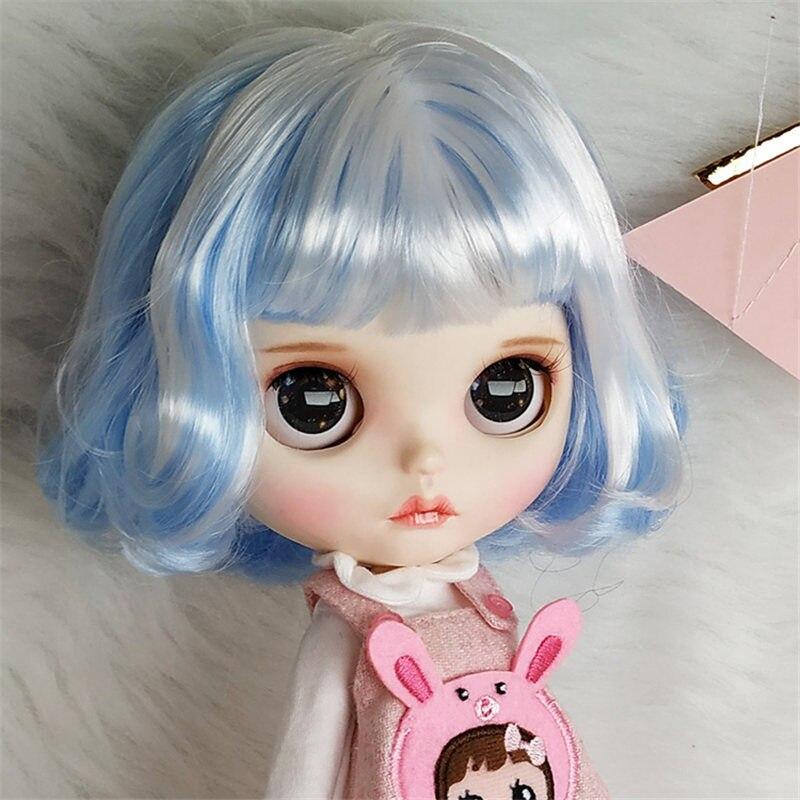 Meilleur 1/6 Blyth poupée avec des cheveux courts de couleur bleu et blanc adapté pour bricolage changement BJD jouet pour les filles