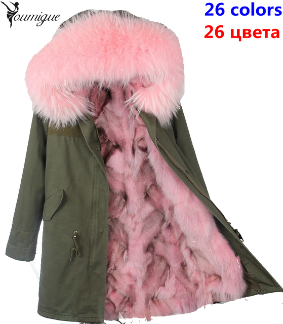 YOUMIGUE Women Winter Coat Army Green Thick Parkas Plus Size Real Raccoon Fur Collar Hooded Fox Fur Lining Jacket abrigos mujer